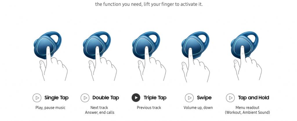 Funzioni Samsung Gear IconX