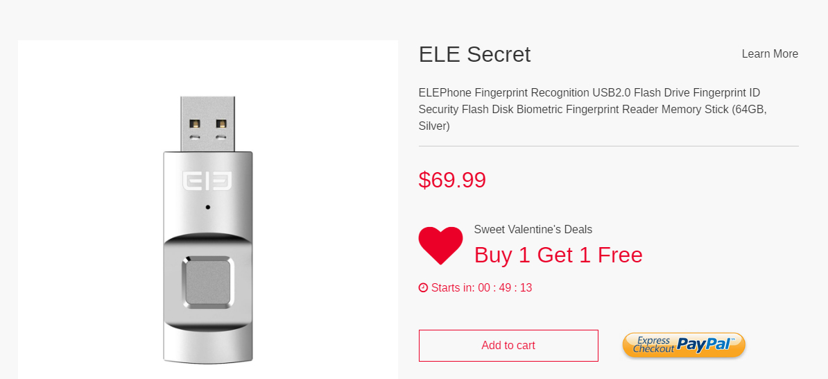 Promozione San Valentino Elephone EleSecret