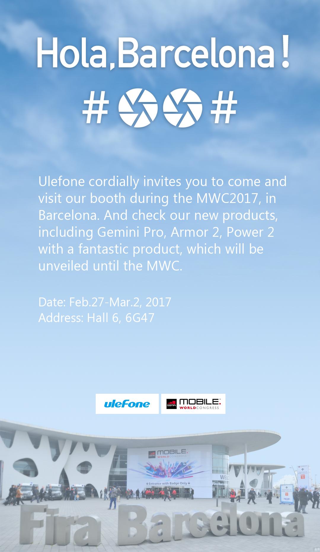 Ulefone vi invita a trovarli al Mobile world Congress di Barcelona