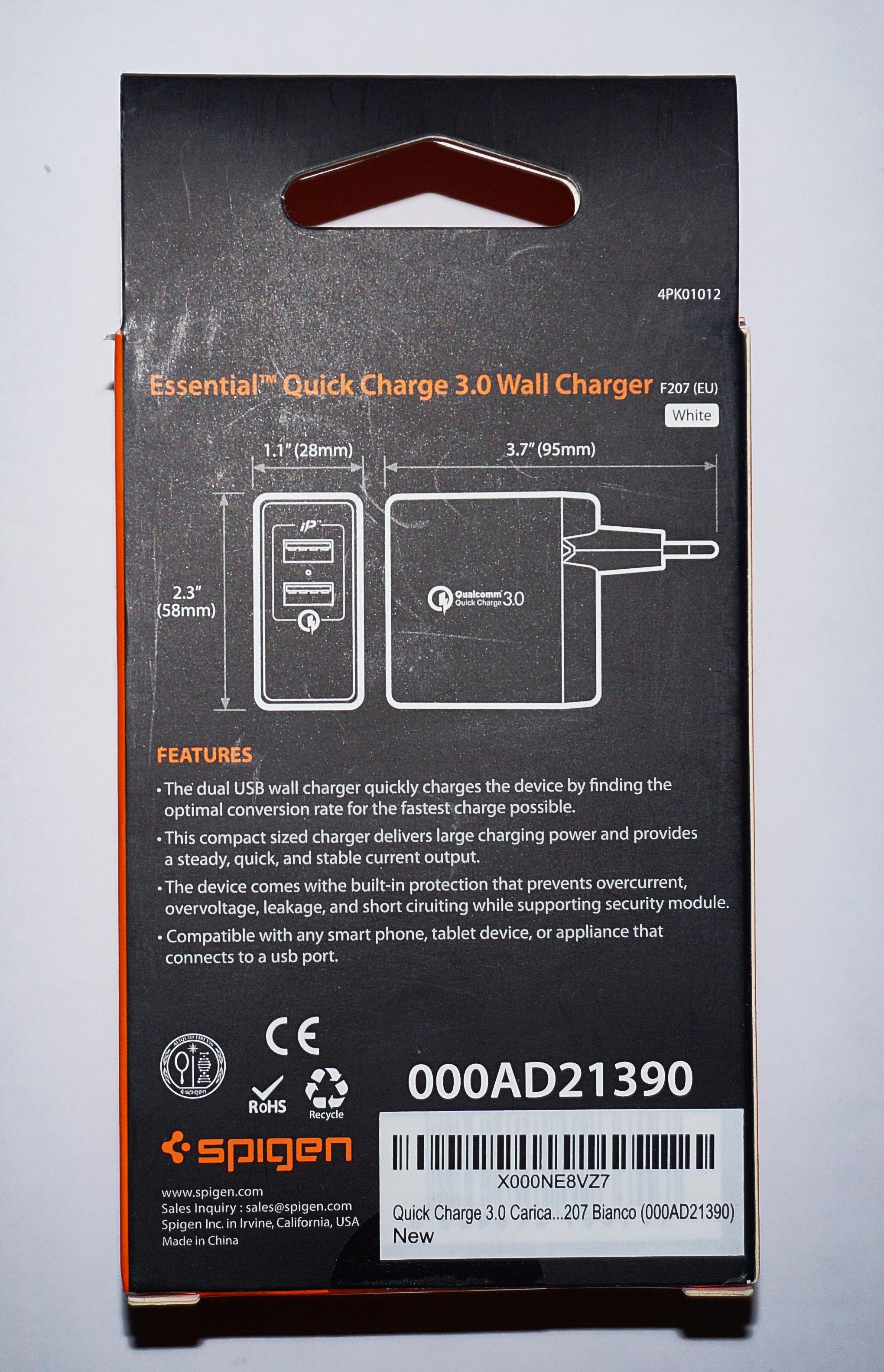 Caricatore da muro Spigen, Quick Charge 3.0, la recensione